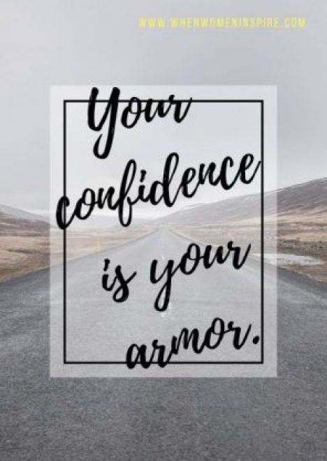 Quote about confidence written on a photo of an open road behind it