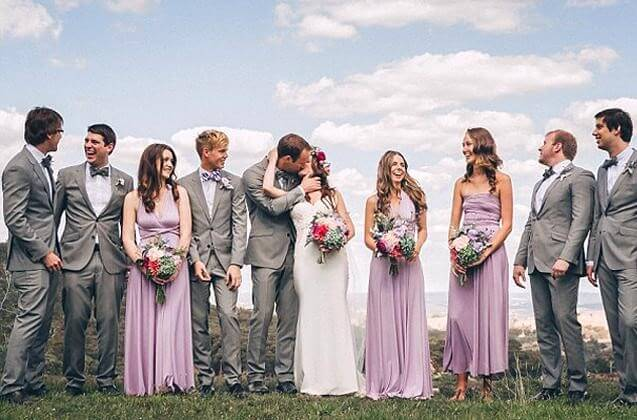 Matching the groomsmen and bridesmaids exactly is a popular choice.