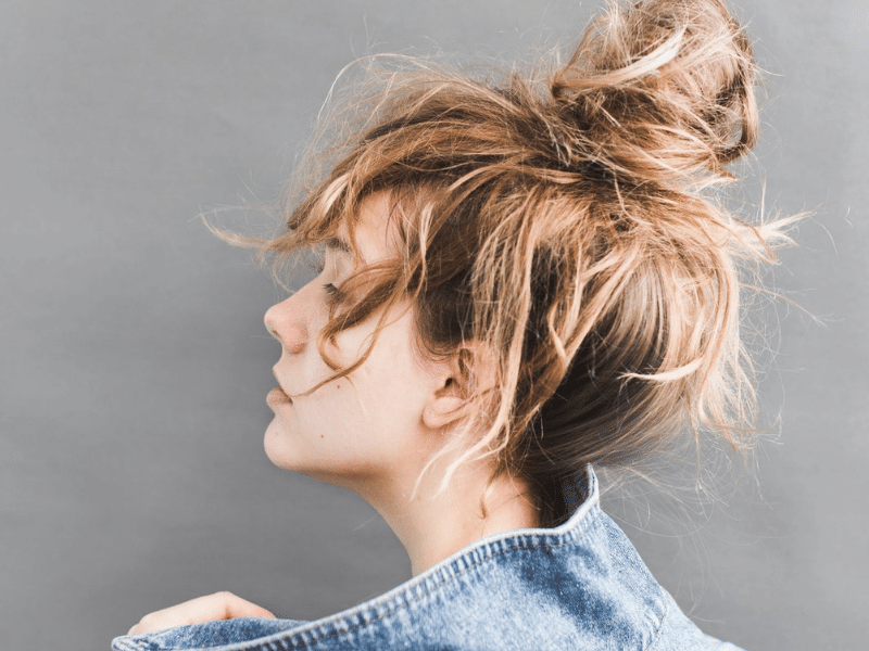 Quick messy bun medium-length hair