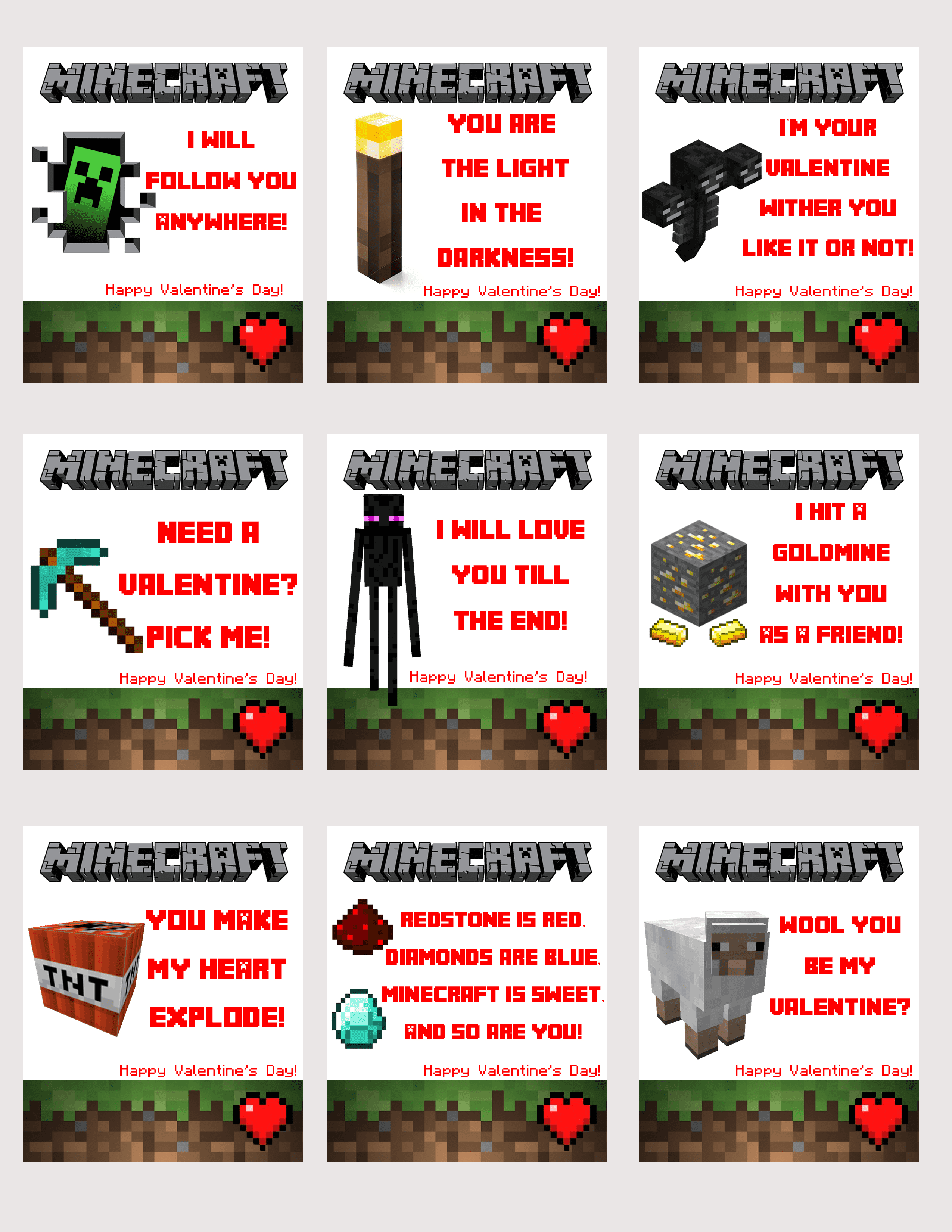 Free Printable Minecraft Valentines Some Mom