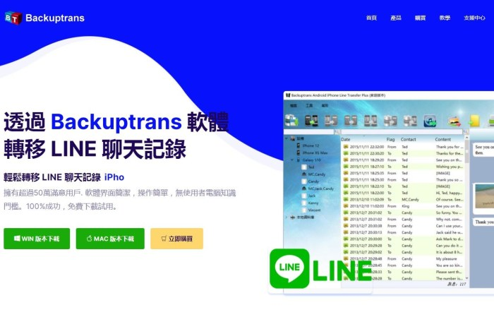 Backuptrans 軟體-無痛快速LINE聊天紀錄Android轉移iPhone