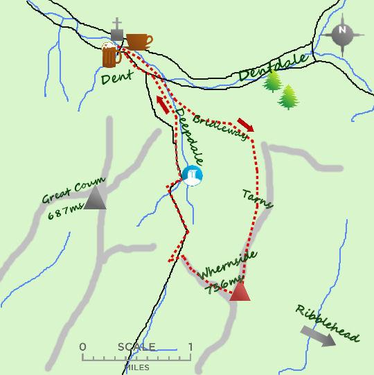 Whernside from Dent map