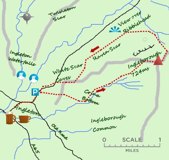 Ingleborough climb map