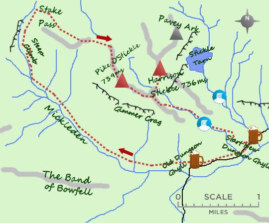 Mickleden via Pike O'Stickle map