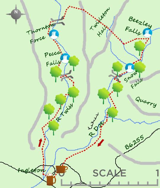 Ingleton Falls walk map
