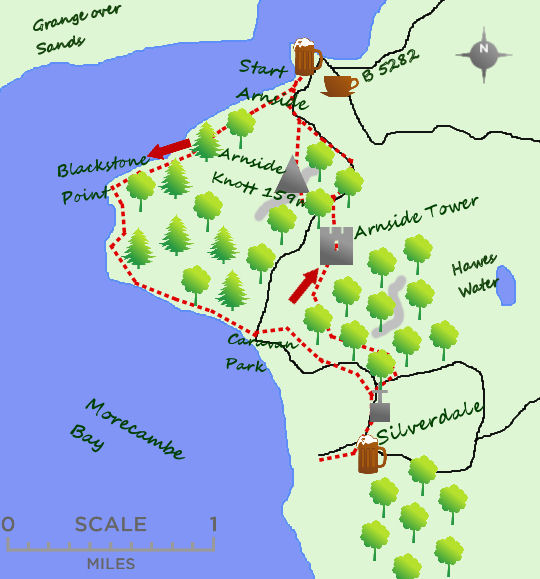 Arnside to Silverdale map