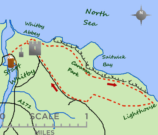 A short walk to Whitby Abbey and along the coast