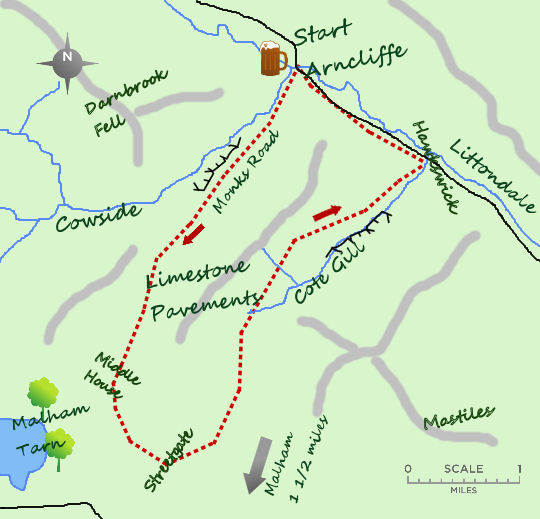 Litton to Malham circular map