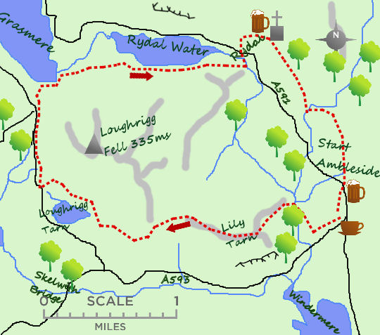 Loughrigg Tarn & Fell map