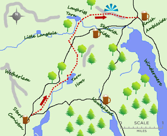 Coniston to Ambleside map