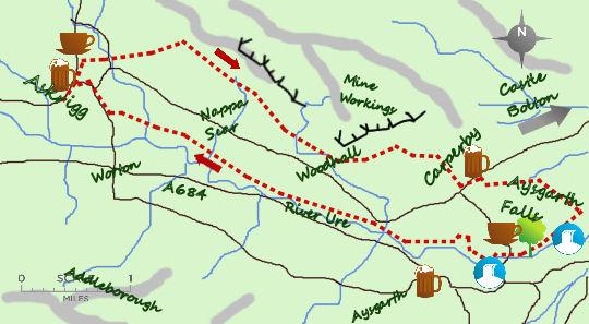 Askrigg to Aysgarth Falls map