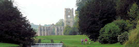 Fountains Abbey from the grounds