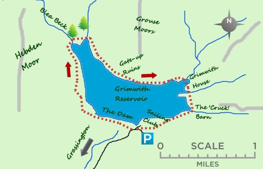 Grimwith Reservoir map