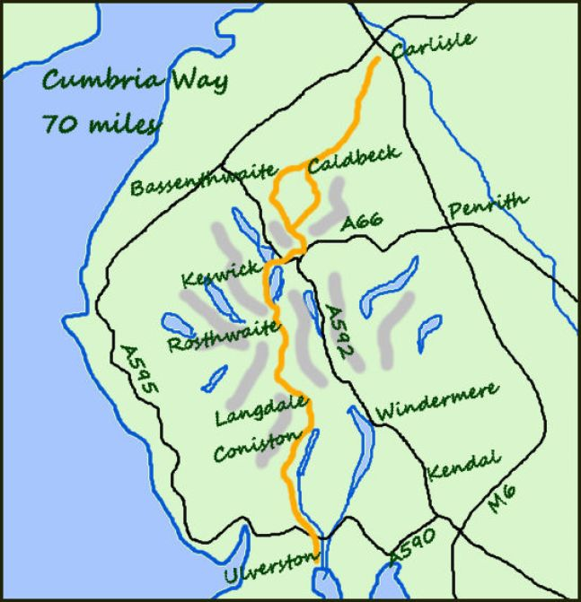 Cumbria Way map