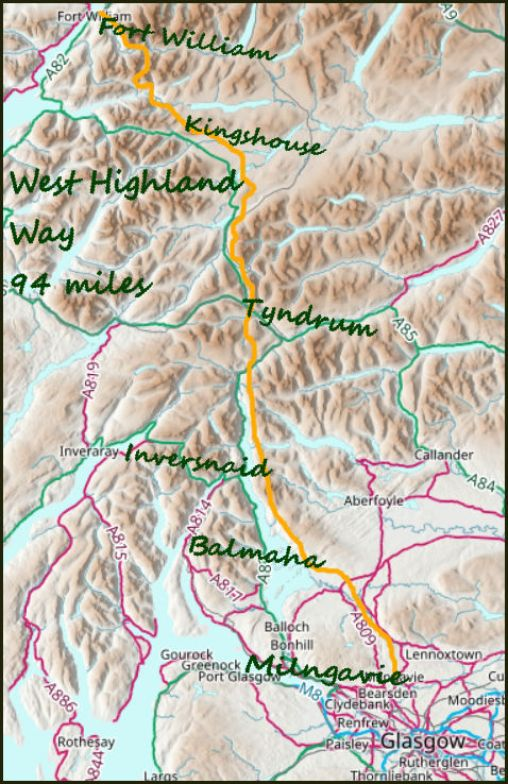 West Highland Way map