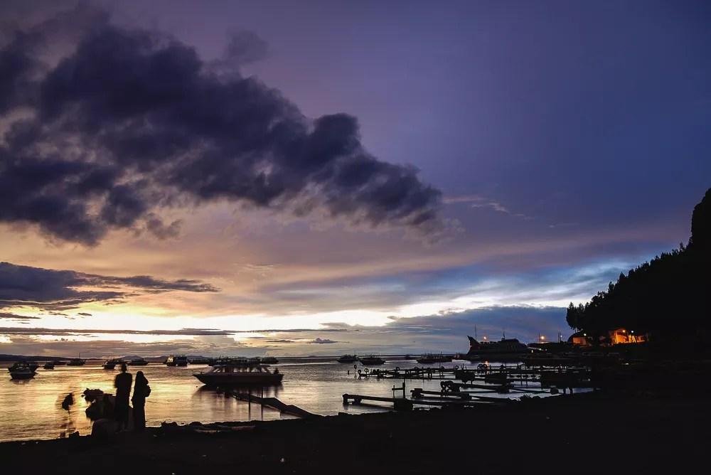 Copacabana Sunset From Lake Titicaca Harbor