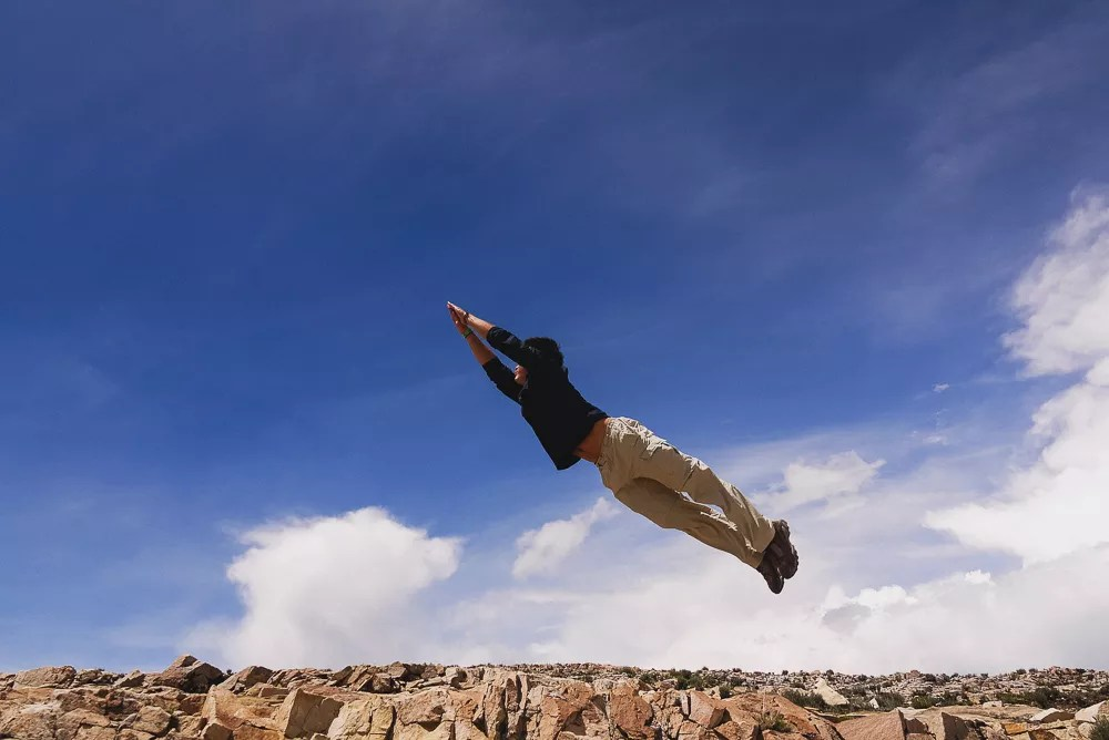 Man Attempting Superman Jumping Shot Isla Del Sol