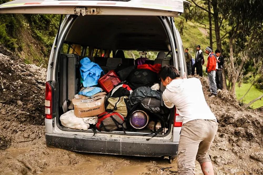 Pushing Van Out Of Mudslide in Peru