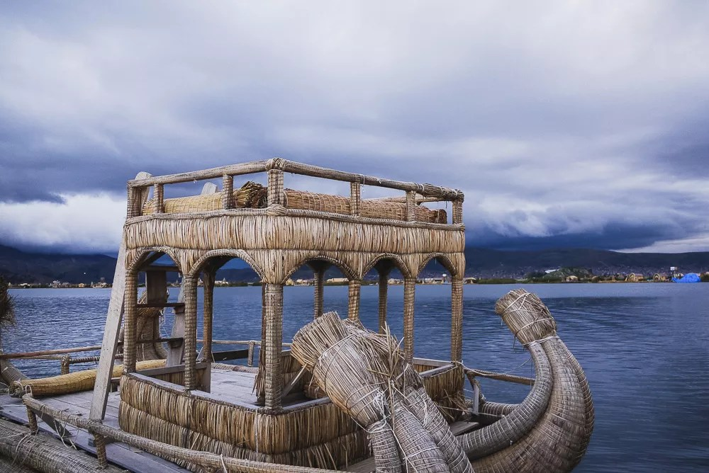 Totora Reed Boat Made By Uros People Floating Island