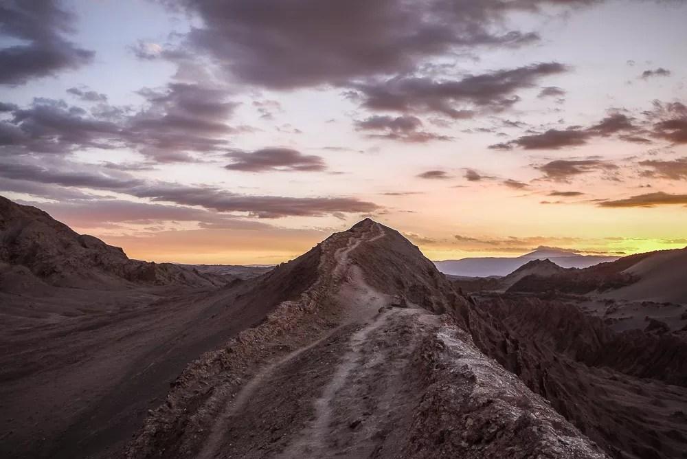 Sunset on ridge crest of Valle de la Luna In Chile