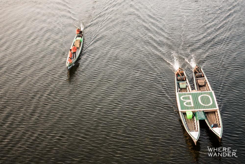 Aerila View Of Emergency Landing Boat For Hot Air Balloon at Inle Lake