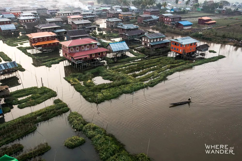Aerial View Of Inle Lake and Fisherman From Hot Air Balloon
