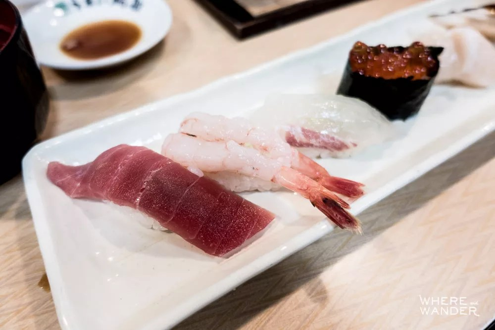 Tuna, Ebi Shrimp, Scallop and Ikura Nigiri At Tsukiji Fish Market