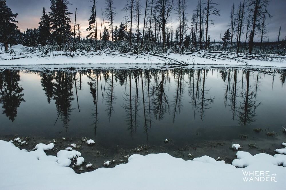 Lake Reflection at Yellowstone National Park At Sunset
