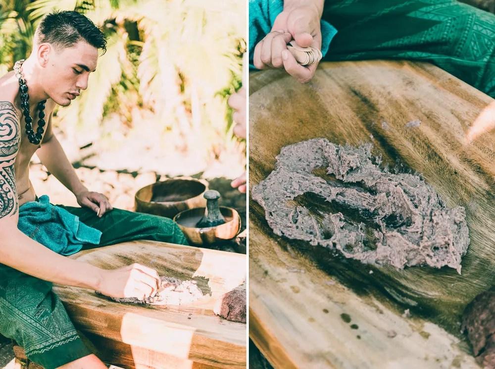 Hawaiian Man Making Poi From Scratch