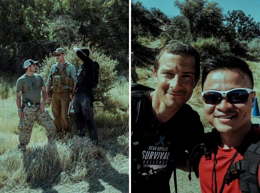 Selfie with Bear Grylls at Survival Challenge