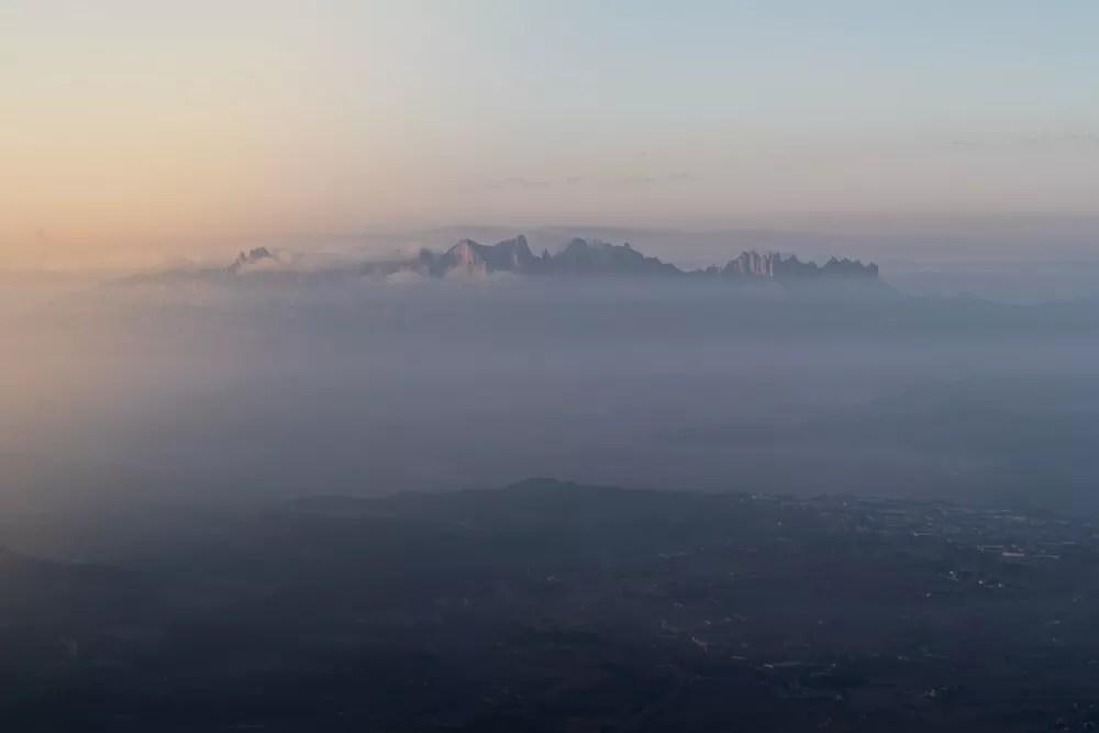 Sunrise view of Montserrat from Hot Air Balloon