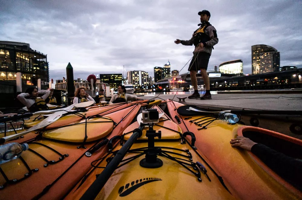 docked kayak for fish and chips dinner