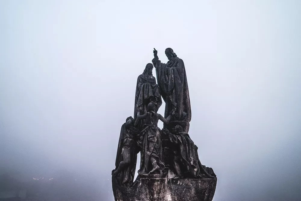 Charles Bridge Statues In Mist