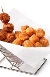 Moroccan Meatball Skewers with Spiced Sweet Potato Puffs