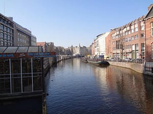 Canal off the Rhine River in Amsterdam