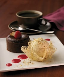 Chocolate Almond Molten Cake with Almond Ice Cream