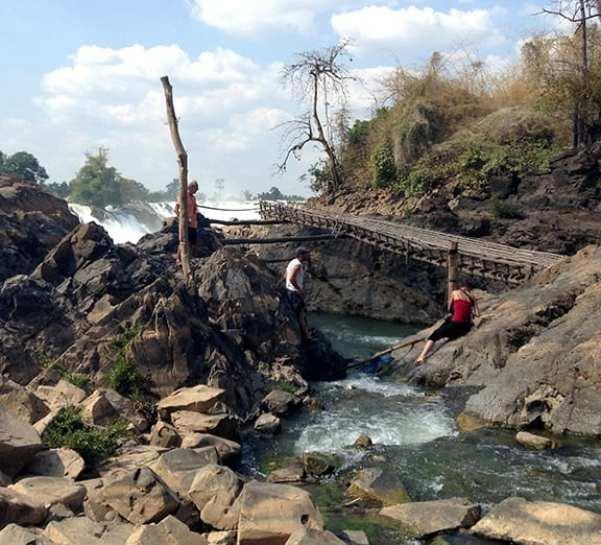 Walkways at the Base of Khane Phapheng Falls - by Andrew Kolasinski