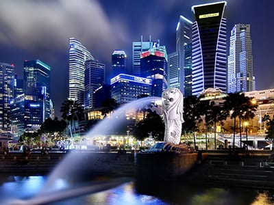 singapore-city-merlion-night-view
