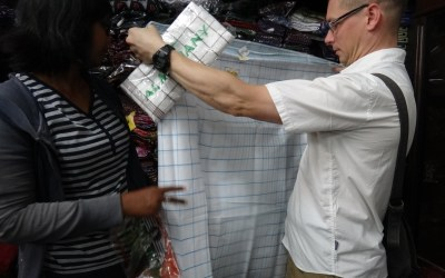 "Scott in a skirt: Learning to tie a ""longyi"" before we head to Burma"