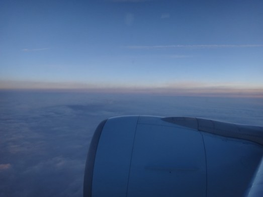 Sun setting as we fly from Toronto to Frankfurt airport.