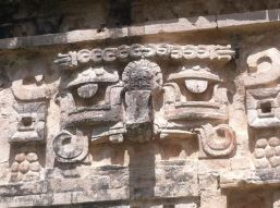 Mask-like faces on temple walls