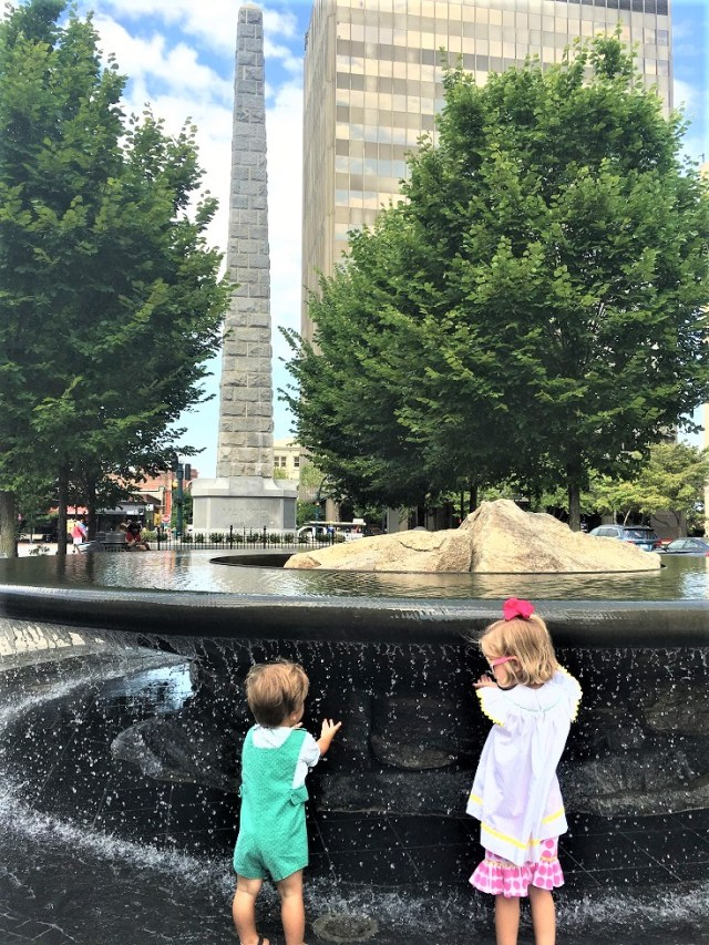 Playing in the Downtown Asheville Fountain