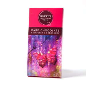 Dark Chocolate with Cocoa Nibs and Raspberry