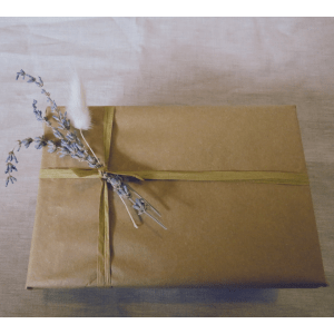 Care Package Gift Wrap, Brown Paper With Lavender and Pampas Grass