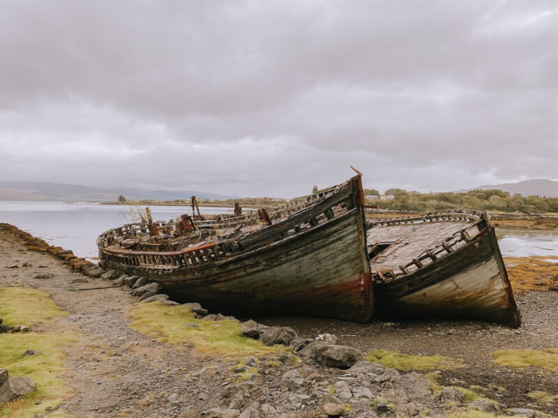 image of wrecked boats on Isle of Mull
