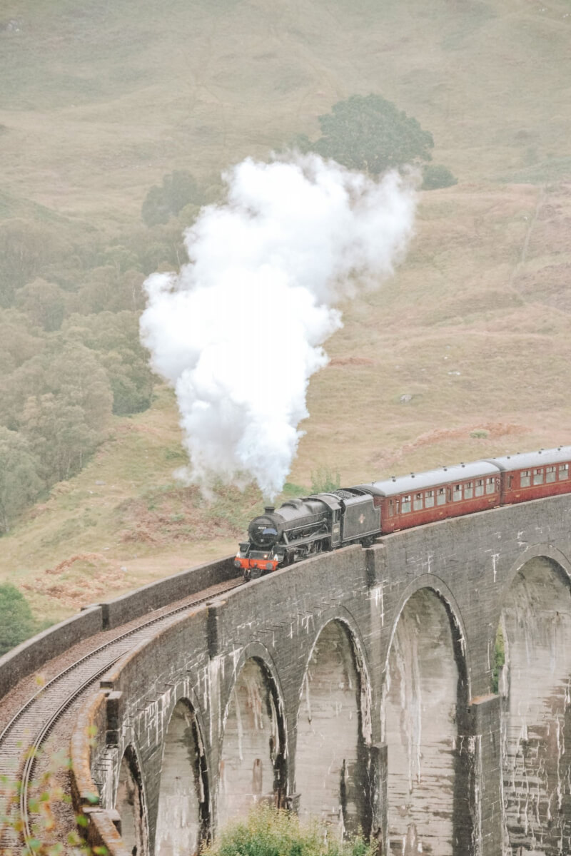 image of the jacobite train crossing the Glenfinnan viadcut in Scotland
