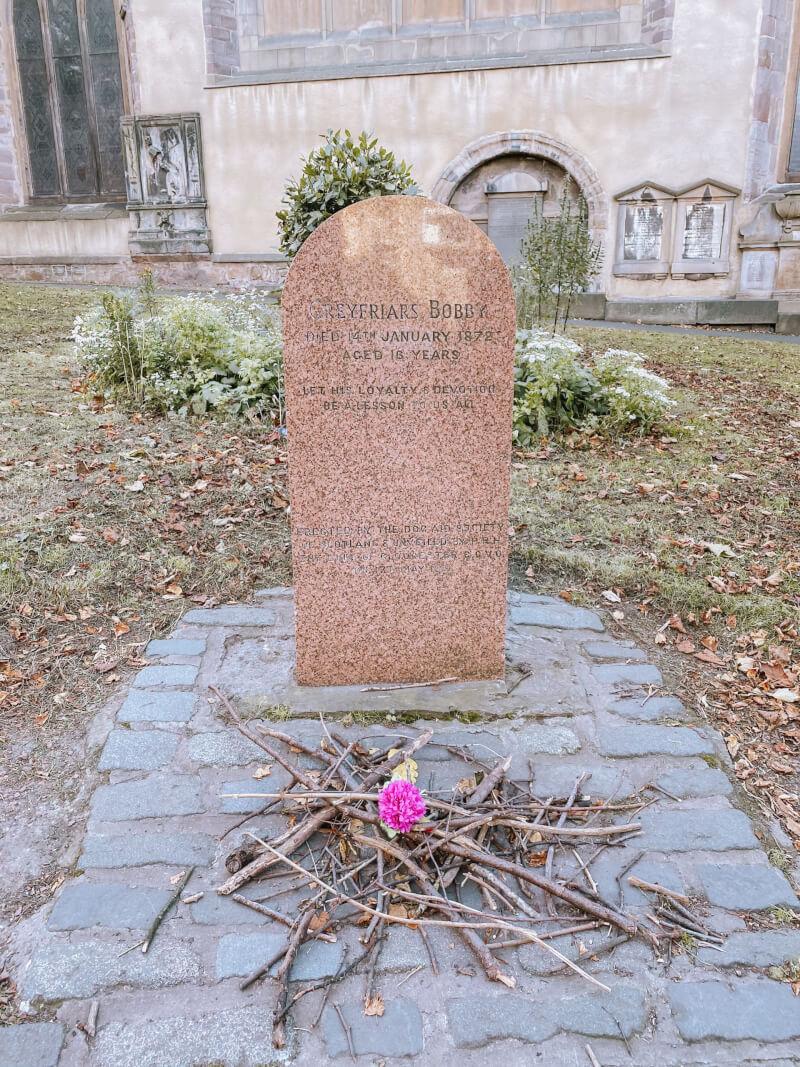 image of Greyfriars Bobby grave in Greyfriar Kirk cemetary