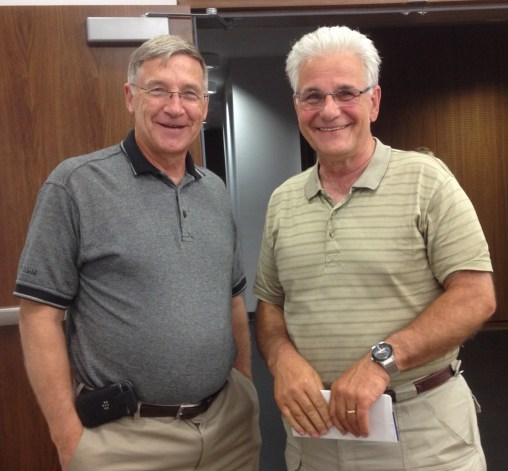 Regional Chair Ken Seiling with former parole officer Mark Yantzi, a pioneer in the field of restorative justice.