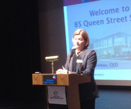 Kitchener Public Library CEO Mary Chevreau welcomes a crowd of more than 200 to our inaugural 85 QUEEN event.