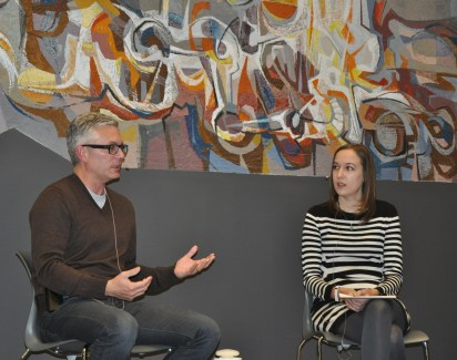 Librarian Karissa Alcox interviewed author Andrew Pyper in the Reading Lounge at Central Library.